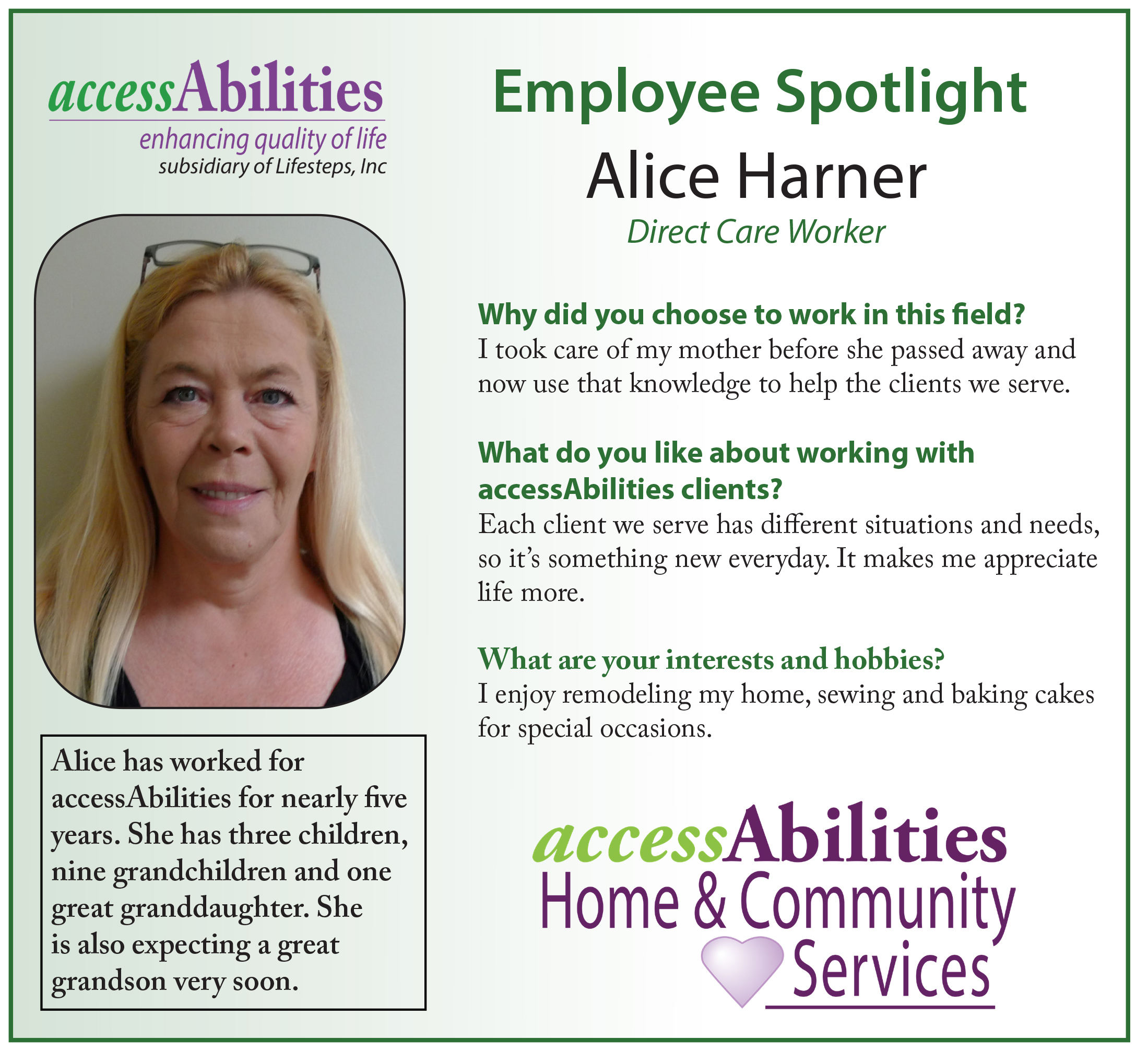 Caregiver Spotlight - Alice